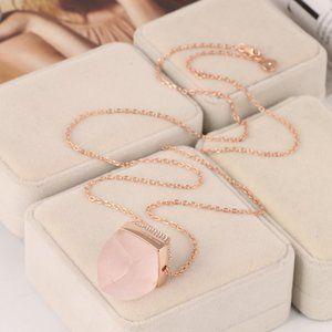 Michael Kors Natural Pink Crystal Long Necklace